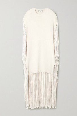 Valentino Fringed Leather-trimmed Wool And Cashmere-blend Poncho - Ivory