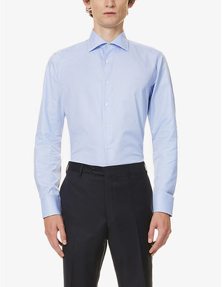 Canali Micro houndstooth cotton shirt
