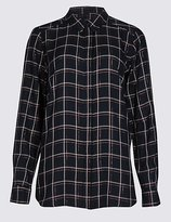 M&S Collection Lurex Checked Long Sleeve Shirt
