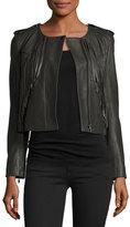 Joie Zeno Cropped Leather Jacket with Fringe, Smokey Ash