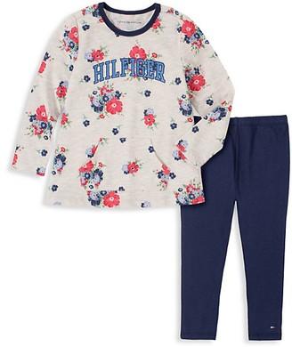 Tommy Hilfiger Baby Girl's 2-Piece Floral-Print Top & Leggings Set