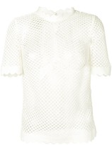 Self-Portrait Self Portrait scalloped trim woven T-shirt
