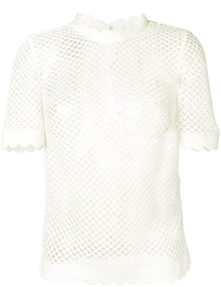 Self-Portrait scalloped trim woven T-shirt