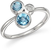 Bloomingdale's Blue Topaz and Diamond Three Stone Ring in 14K White Gold - 100% Exclusive