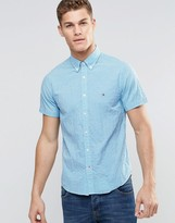 Tommy Hilfiger Shirt In Blue Gingham Check Short Sleeves In Slim Fit Stretch