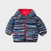 Paul Smith Baby Boys' 'Stripe Stick' Print Reversible Hooded Down Jacket