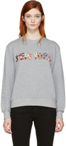 MSGM Grey Embroidered 'New York' Pullover