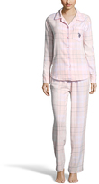 U.S. Polo Assn. White & Pink Plaid Pajama Set