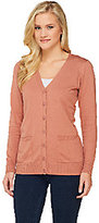 As Is Denim & Co. Essentials Button Front Cardigan