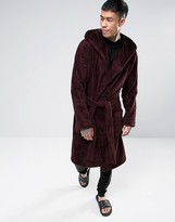 Asos Hooded Fleece Robe in Burgundy