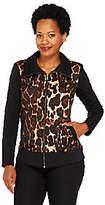 George Simonton Leopard Jacquard Zip Front Jacket