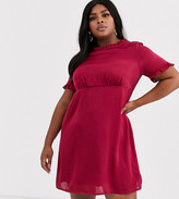 Simply Be high neck satin tea dress in berry