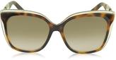 Jimmy Choo OCTAVIA/S 19WJD Havana Brown Acetate Cat Eye Sunglasses