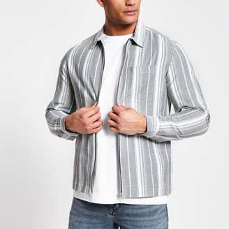 River Island Mens Navy stripe zip front overshirt