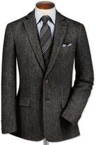Classic Fit Charcoal Lambswool Hopsack Wool Jacket Size 38 Short By Charles Tyrwhitt
