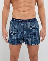 Tommy Hilfiger Woven City Print Boxers In Navy