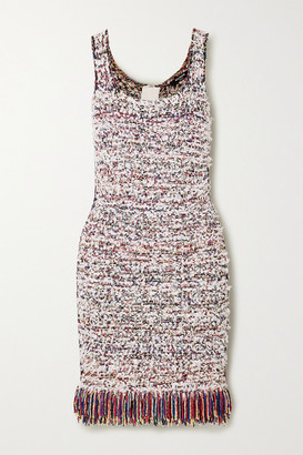 Balmain Fringed Tweed Mini Dress - White