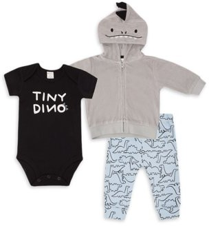 PL Baby by Petit Lem Baby Boy Hooded Dinosaur Jacket, Bodysuit & Pants Outfit Set, 3pc