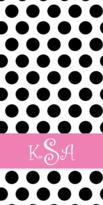 The Well Appointed House Personalized Beach Towel with Polka Polka Pattern in Black and White