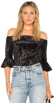 Band of Gypsies Velvet Off The Shoulder Bodysuit in Black. - size L (also in M,S,XS)