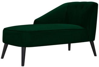 Handy Living Quora Channel Tufted Chaise Lounge, Emerald Green Velvet