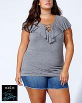 Penningtons Tess Holliday - Ruffled Lace Up T-Shirt
