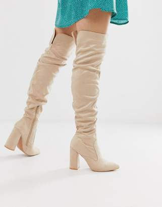 Lost Ink ruched over the knee boot in beige