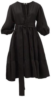 Fil De Vie - Medina Tiered Linen Dress - Black