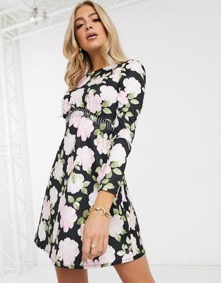 ASOS DESIGN mini dress with diamante trim in black with floral print