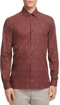 Z Zegna Allover Leaf Print Slim Fit Button-Down Shirt