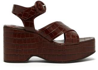 STAUD Jane Crocodile-effect Leather Platform Sandals - Dark Brown