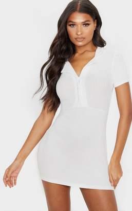 PrettyLittleThing Grey Brushed Rib Polo Collar Button Bodycon Dress