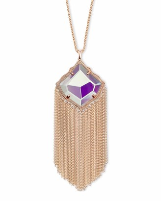 Kendra Scott Kingston Long Pendant Fringe Necklace for Women Fashion Jewelry 14k Gold-Plated