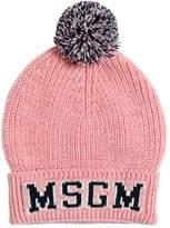 MSGM Logo Wool Blend Beanie Hat W/ Pompom