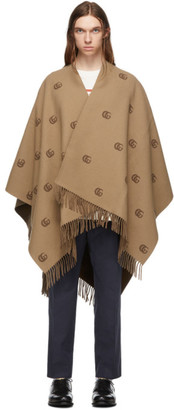 Gucci Beige and Brown Wool Poncho
