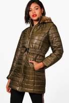 boohoo Frankie Faux Fur Hood Longline Padded Jacket