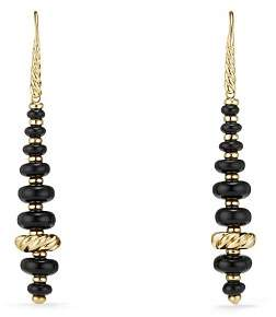 David Yurman Rio Rondelle Drop Earrings with Black Onyx in 18K Gold