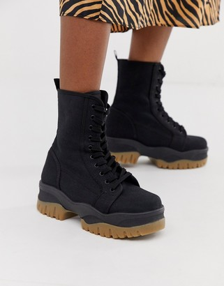 Asos Design DESIGN Amber chunky lace up boots in black canvas