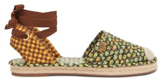 Fendi Quilted Floral-print & Gingham Canvas Espadrilles - Black Multi