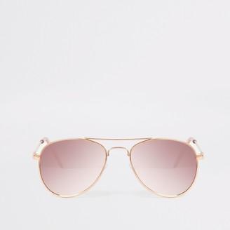 River Island Girls Pink mirrored aviator sunglasses
