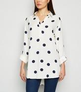 New Look Cream Polka Dot Overhead Shirt