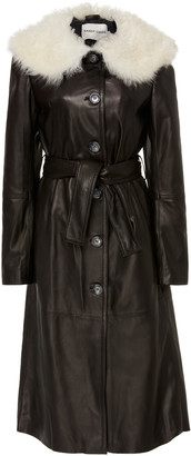 Sandy Liang Boose Belted Shearling-Trimmed Leather Coat