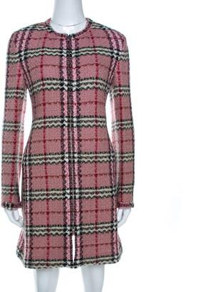 Burberry Pink Checkered Tweed Zip Front Sweater Dress S