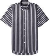 Balenciaga Button-down Collar Striped Cotton-poplin Shirt - Gray