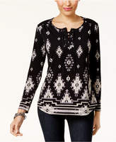 Style&Co. Style & Co Mixed-Print Lace-Up Top, Created for Macy's