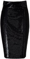 L'Wren Scott Black Silk Mesh Embroidered Pencil Skirt