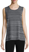 Misook Scoop-Neck Knit Tank, Neutral Gray/Black, Plus Size