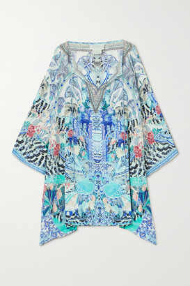 Camilla Crystal-embellished Printed Silk Crepe De Chine Mini Dress - Blue