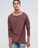 Asos Longline Long Sleeve T-Shirt With Cross Over Hem