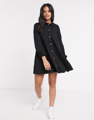 ASOS DESIGN mini dress with lace trim collar in black